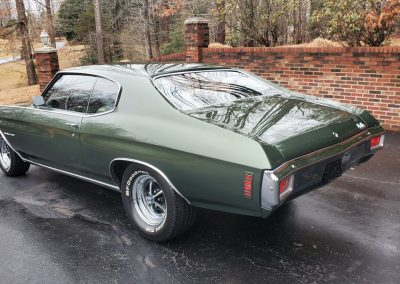 exterior 1970 Chevelle in forest green metallic at Old Town Automobile