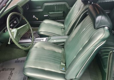 interior 1970 Chevelle in forest green metallic at Old Town Automobile
