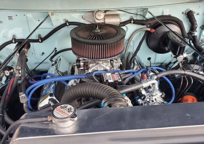 engine 1956 Ford F100 Pickup in light blue